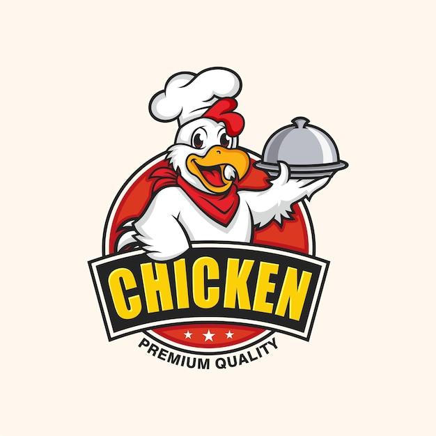 ベージュで分離された鶏のマスコットのロゴ Premiumベクター
