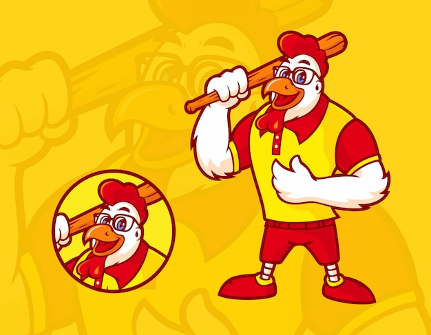 Chicken mascot with a baseball bat, wearing glasses with a happy expression Premium Vector