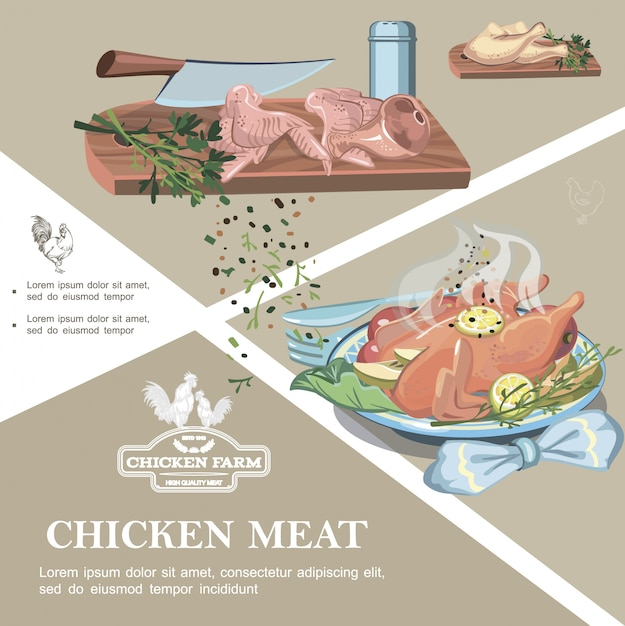 Chicken meat colorful template with raw legs wings ham knife spices salt shaker on cutting board and roasted chicken meal Free Vector