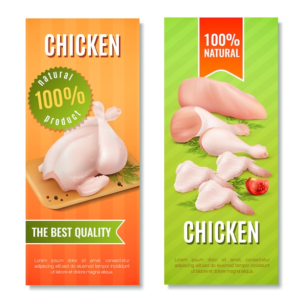 Chicken meat vertical banners Free Vector