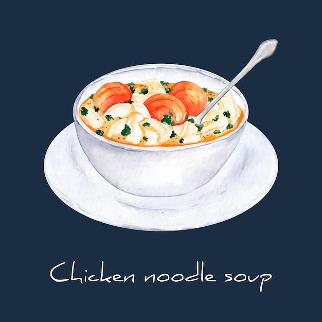 Концепция куриного супа с лапшой Бесплатные векторы