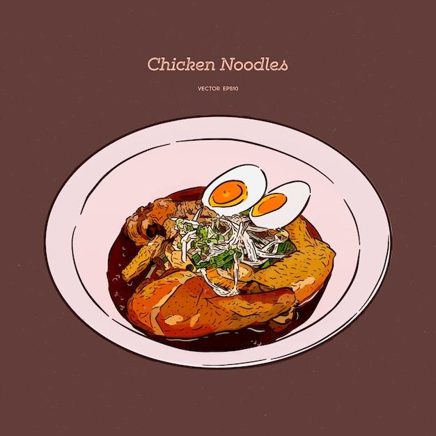 卵と鶏肉麺、手描きスケッチ。 Premiumベクター