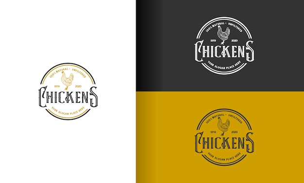 치킨 / 닭 빈티지 로고 디자인 프리미엄 벡터