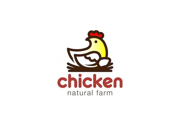 鶏の巣ロゴ線形ベクトルアイコンの上に座って。 無料ベクター
