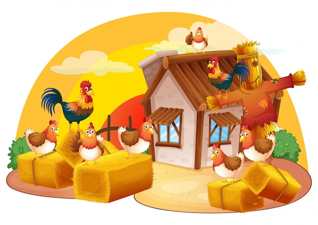 Chickens and scarecrow in the farm Free Vector