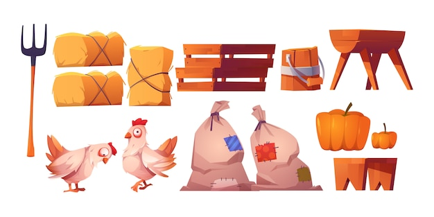 Chickens, straw, bags with harvest and fork Free Vector