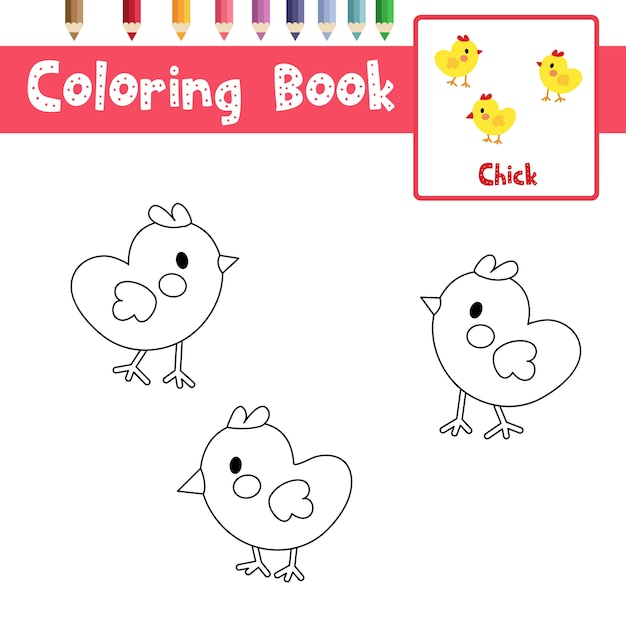 Chicks coloring page Premium Vector