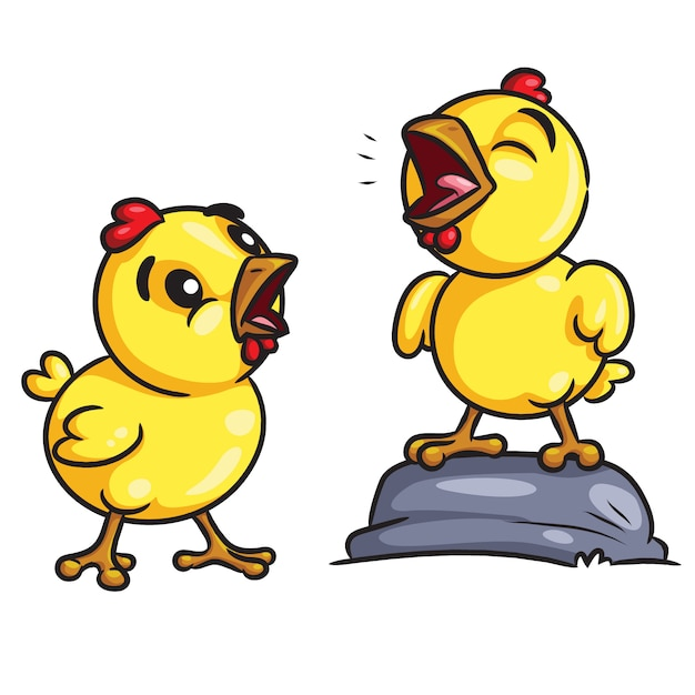 Chicks crow cartoon Premium Vector