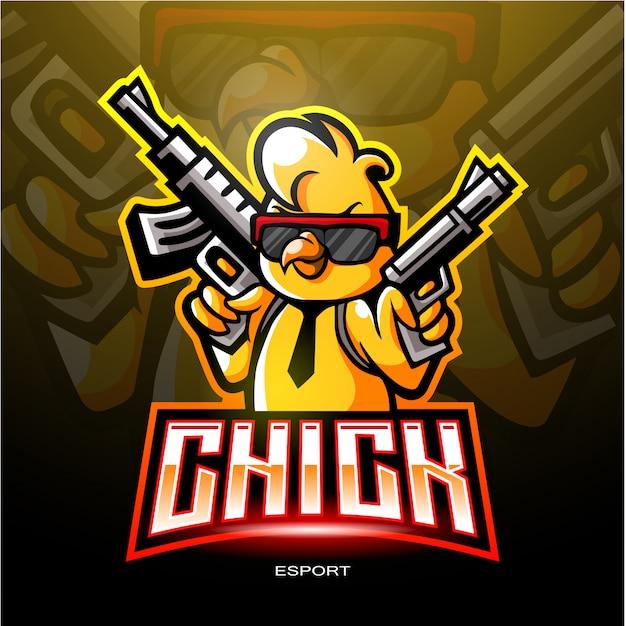 Логотип chicks esport для электронного логотипа спортивных игр. Premium векторы