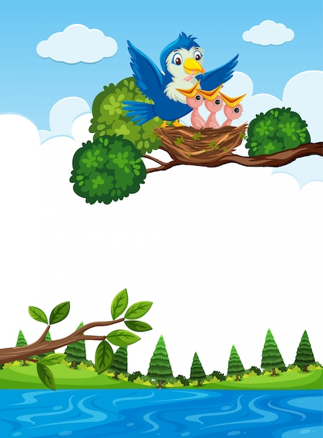 Chicks in nest on tree branch Premium Vector