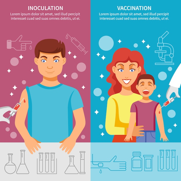Child and adult vaccination banner set Free Vector