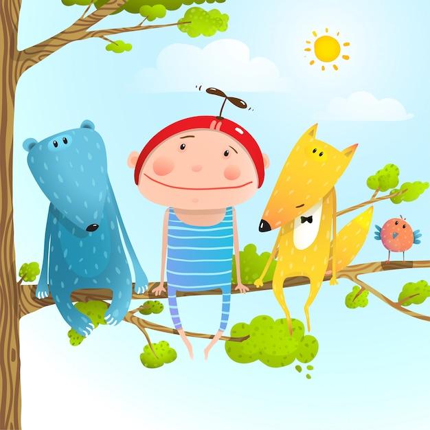 子動物の友人の幼年期は空に木の枝を座っています。 Premiumベクター