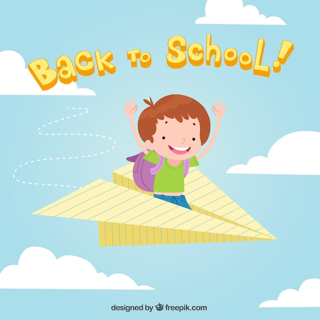 Child background in a paper airplane Free Vector