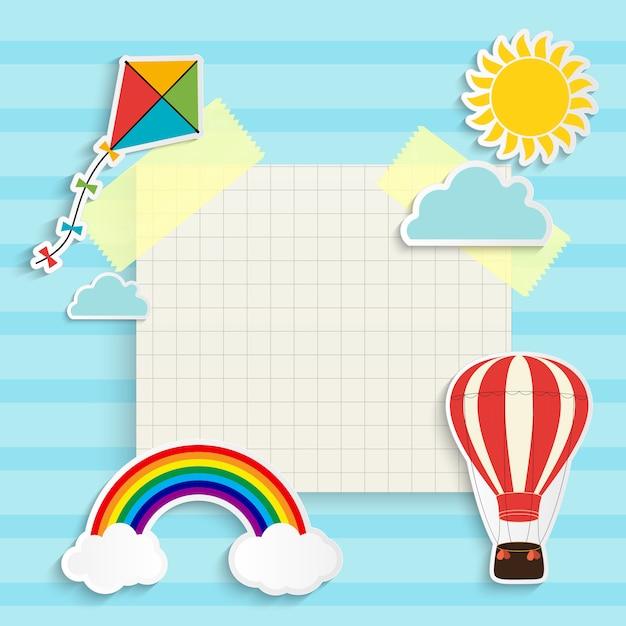 虹、太陽、雲、凧、風船と子供の背景。テキストのための場所。図 Premiumベクター