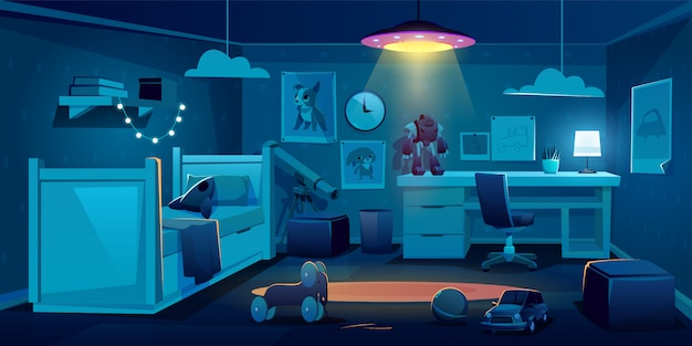 Child bedroom for boy at night time Free Vector