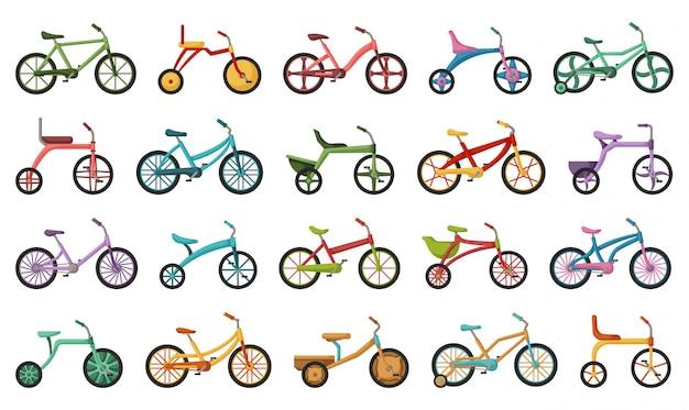 子自転車分離漫画は、アイコンを設定します。白い背景の上の図の子供自転車。漫画セットアイコン子自転車。 Premiumベクター