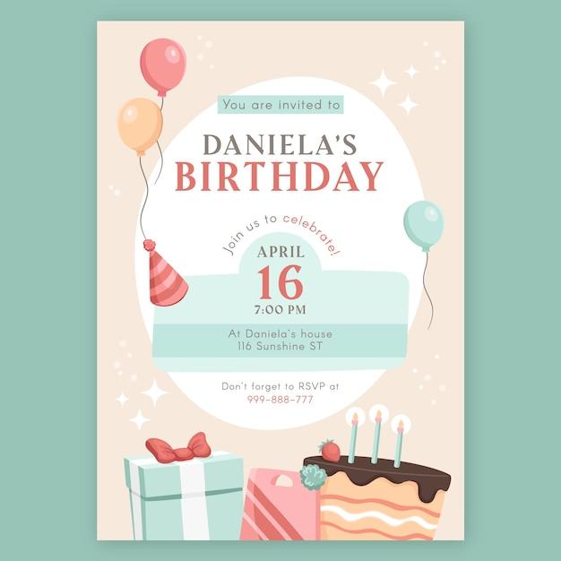 Modello del manifesto della cancelleria della festa di compleanno del bambino Vettore gratuito