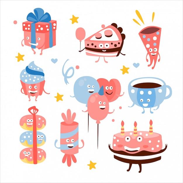 Детский день рождения сладости и атрибуты Premium векторы