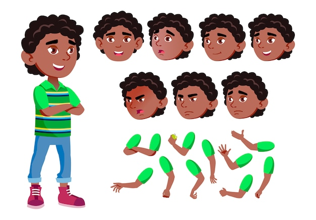Child boy character. african. creation constructor for animation. face emotions, hands. Premium Vector