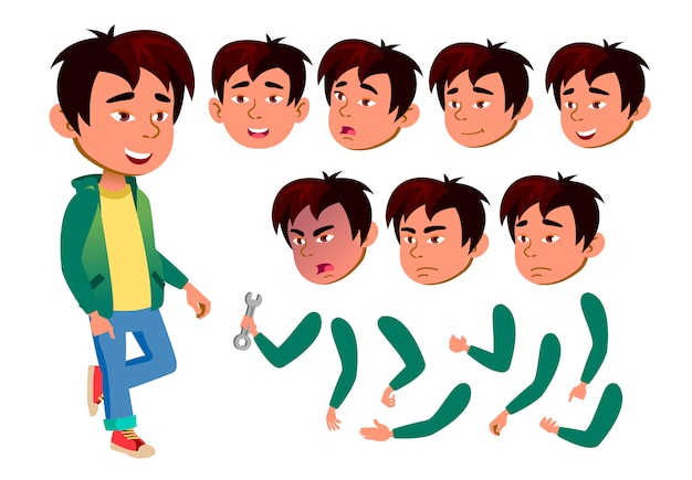 Child boy character. asian. creation constructor for animation. face emotions, hands. Premium Vector