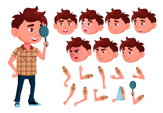 Child boy character. european. creation constructor for animation. face emotions, hands. Premium Vector