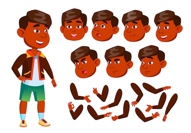 Child boy character. indian. creation constructor for animation. face emotions, hands. Premium Vector