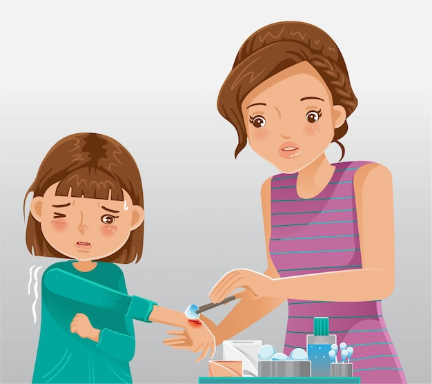 Child care provider. little girl crying in pain injuring his hand. mather provides first aid. Premium Vector