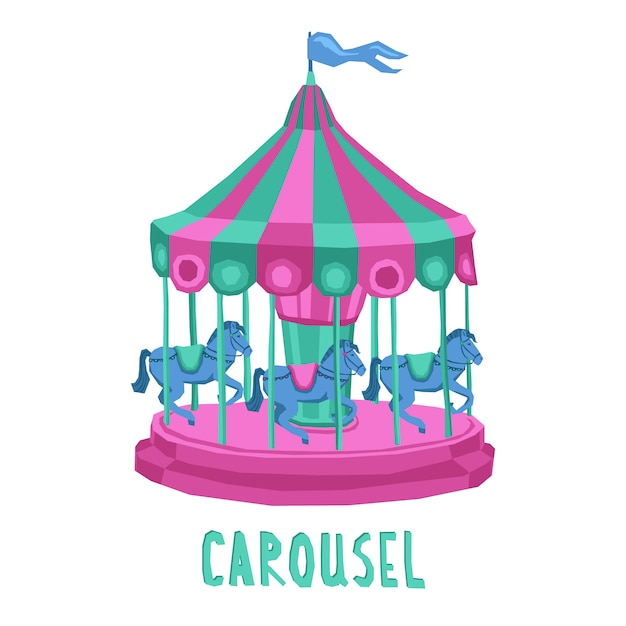 Child carousel illustration Free Vector