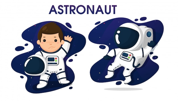 Child characters in astronaut costume in space. Premium Vector