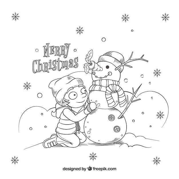 Child christmas background with snowman