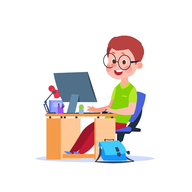 Child at computer. cartoon boy learning at desk with laptop. student studying code Premium Vector