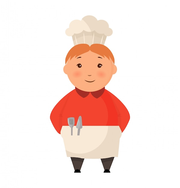 Child in a cook cap stands flat. logo design template for baby food. character child chef pression illustration Premium Vector