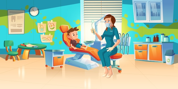 Child at dentist office. little boy patient at dental clinic for kids, female doctor in medic robe and mask sitting at chair with mirror for teeth and oral cavity checkup. cartoon illustration Free Vector