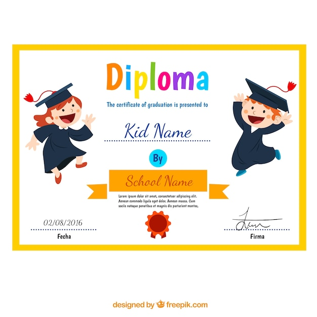 Child diploma with funny children Free Vector
