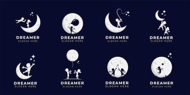 Child dream logo design illustration collection - dreamer logo Premium Vector