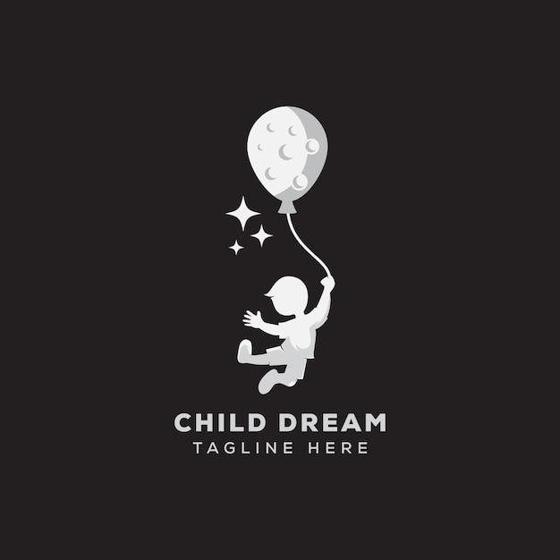 Child dream logo reaching logo template Premium Vector