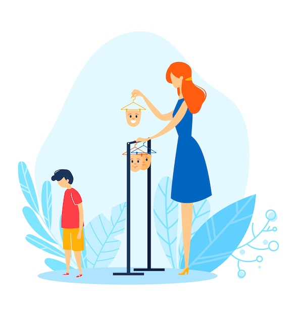 子供の顔のマスク、漫画の母は子供、イラストの気分を選択します。人の感情、若い性格表現の家族問題 Premiumベクター