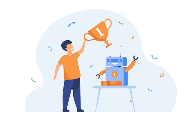 Child getting award for robot Free Vector