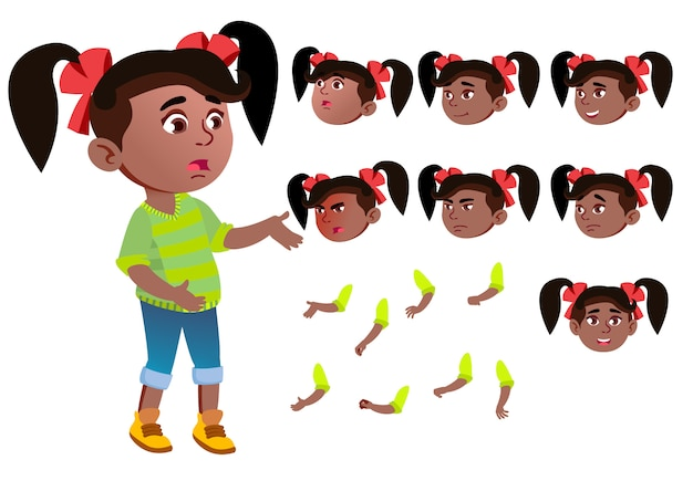 Child girl character. african. creation constructor for animation. face emotions, hands. Premium Vector