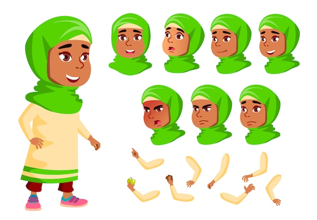 Child girl character. arab. creation constructor for animation. face emotions, hands. Premium Vector