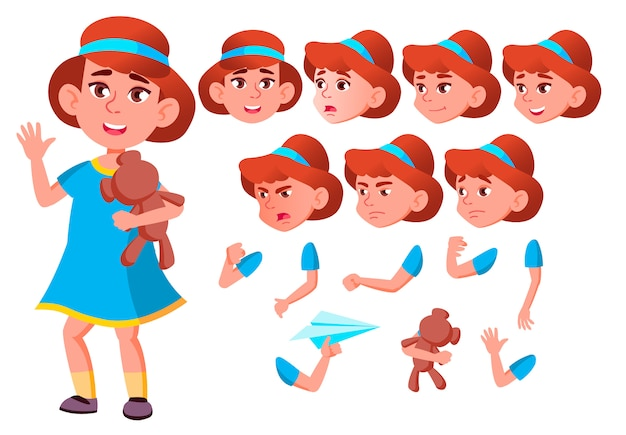Child girl character. european. creation constructor for animation. face emotions, hands. Premium Vector
