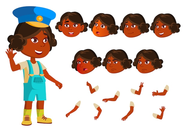 Child girl character. indian. creation constructor for animation. face emotions, hands. Premium Vector