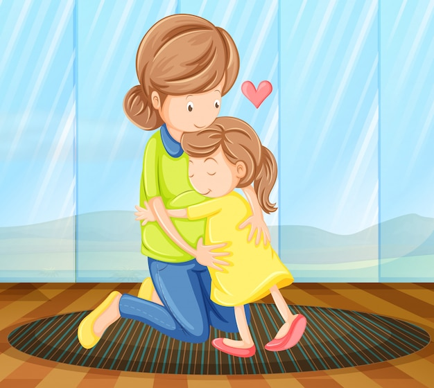 A child hugging her mother Free Vector