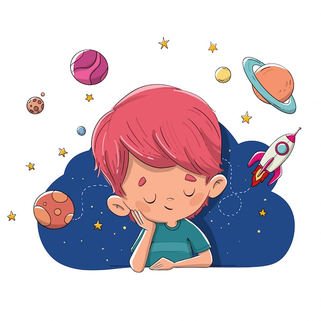 Child imagining and dreaming of planets, rockets, space Premium Vector