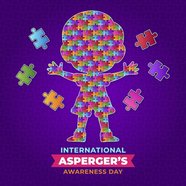 Ребенок в пазлах день осведомленности аспергера Бесплатные векторы
