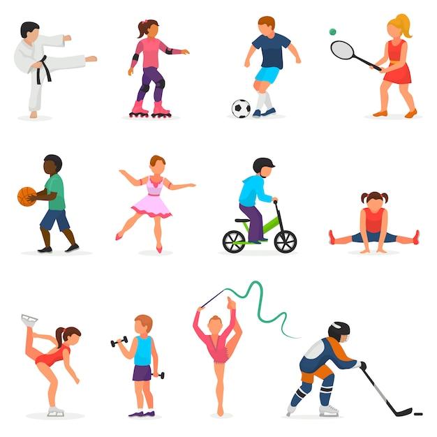 스포츠 벡터 소년이나 소녀 캐릭터 하키 또는 축구와 어린이 춤에서 아이 프리미엄 벡터