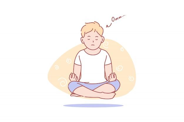 Child, levitation, yoga, meditation, health, illustration Premium Vector