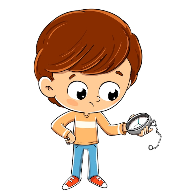 Child looking at the time on a clock waiting Premium Vector