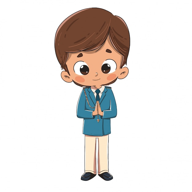 Child making the first communion Premium Vector