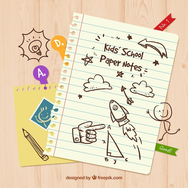 Child paper notes Free Vector